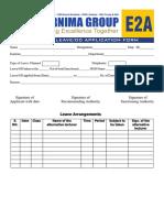 E 2 Leave Application Form