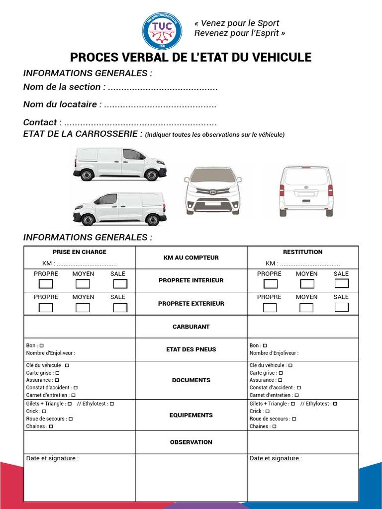 Proces Verbal De L Etat Du Vehicule Vehicules Transport