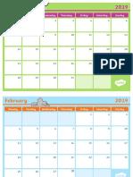 2019 Monthly Calendar Planning Template Ver 2 Unlocked
