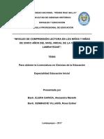 """""""NIVELES DE COMPRENSIÓN LECTORA EN LOS NIÑOS Y NIÑAS DE CINCO AÑOS DEL NIVEL INICIAL DE LA CIUDAD DE LAMBAYEQUE""""."""