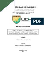 """INFORME Final """"CALIDAD DE SERVICIO EN ORIENTACION AL CONTRIBUYENTE QUE BRINDAN LOS FUNCIONARIOS Y SATISFACCION AL USUARIO – SUNAT – HUÁNUCO. 2019"""""""