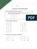 Multiplicacion Con Numeros Enteros