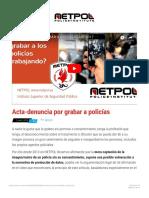 Acta-denuncia por grabar a policías - NETPOL