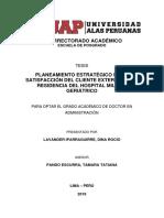 PLANEAMIENTO ESTRATÉGICO EN LA SATISFACCIÓN DEL CLIENTE EXTERNO DE LA RESIDENCIA DEL HOSPITAL MILITAR GERIÁTRICO