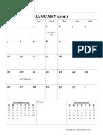 2020 Monthly Calendar Portrait 16