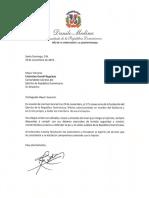 Carta de felicitacion del presidente Danilo Medina por 175 aniversario de la fundación del Ejército de la República Dominicana