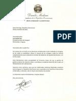 Carta de felicitación del presidente Danilo Medina a Luis Lacalle Pou, mandatario electo de Uruguay
