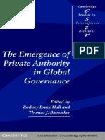 (Cambridge Studies in International Relations) Rodney Bruce Hall, Thomas J. Biersteker, Eds. - The Emergence of Private Authority in Global Governance-Cambridge University Press (2003)