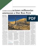 Indeminizaciones millonarios amenazan a Doe Run Perú