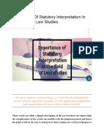 Importance of Statutory Interpretation in the Field of Law Studies