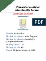 Ambiente de Word Informatica Campos Bennavides Juan Carlos #9