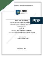 Informe Proce II de Rendimiento de Maquinaria Janz