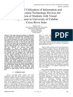 Problems of Utilization of Information and Communication Technology Devices for Education of Students with Visual Impairment in University of Calabar  Cross River State