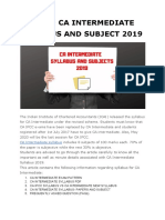 REVISED CA INTERMEDIATE SYLLABUS AND SUBJECT 2019