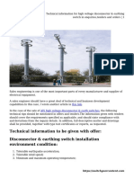 Technical Information for High Voltage Disconnector & Earthing Switch in Enquiries,Tenders and Orders