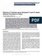 Opinions of Teachers about Renewed 3rd and 4th Grade Science Curriculum in Turkey