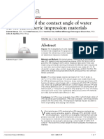 Comparison of the contact angle of water on set elastomeric impression materials