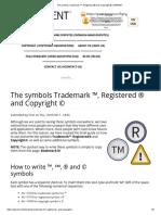 The symbols Trademark ™, Registered ® and Copyright © _ iGERENT