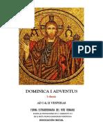 I & II Vísperas  del I Domingo de Adviento. Forma Extraordinaria del Rito Romano