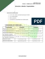 Multiplicação e Divisão. Propriedades - Ficha Informativa