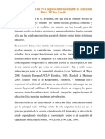 Cuarto Congreso de La Educacion Fisica en España