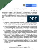 Comunicado-130 2019 Supersalud-Liquidacion Saludvida