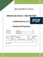 Informe Cierre Eliminacion de EU17 AGI 2017037
