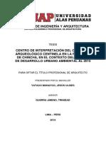 CENTRO DE INTERPRETACIÓN DEL COMPLEJO ARQUEOLÓGICO CENTINELA EN LA PROVINCIA DE CHINCHA, EN EL CONTEXTO DEL MODELO DE DESARROLLO URBANO AMBIENTAL AL 2015