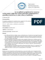 WHO recommendation on antibiotic prophylaxis for caesarean section using a single dose of first generation cephalosporin or penicillin in preference to other classes of antibiotics - 2018-04-03.pdf