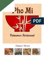 pho dinner menu