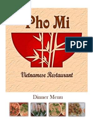 Pho Dinner Menu Tofu Soup