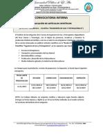 Convocatoria Articulos Cientificos Revista 2019 Igp