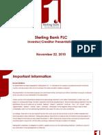 Sterling Bank PLC Q3 2010 Investor-Creditor Presentation