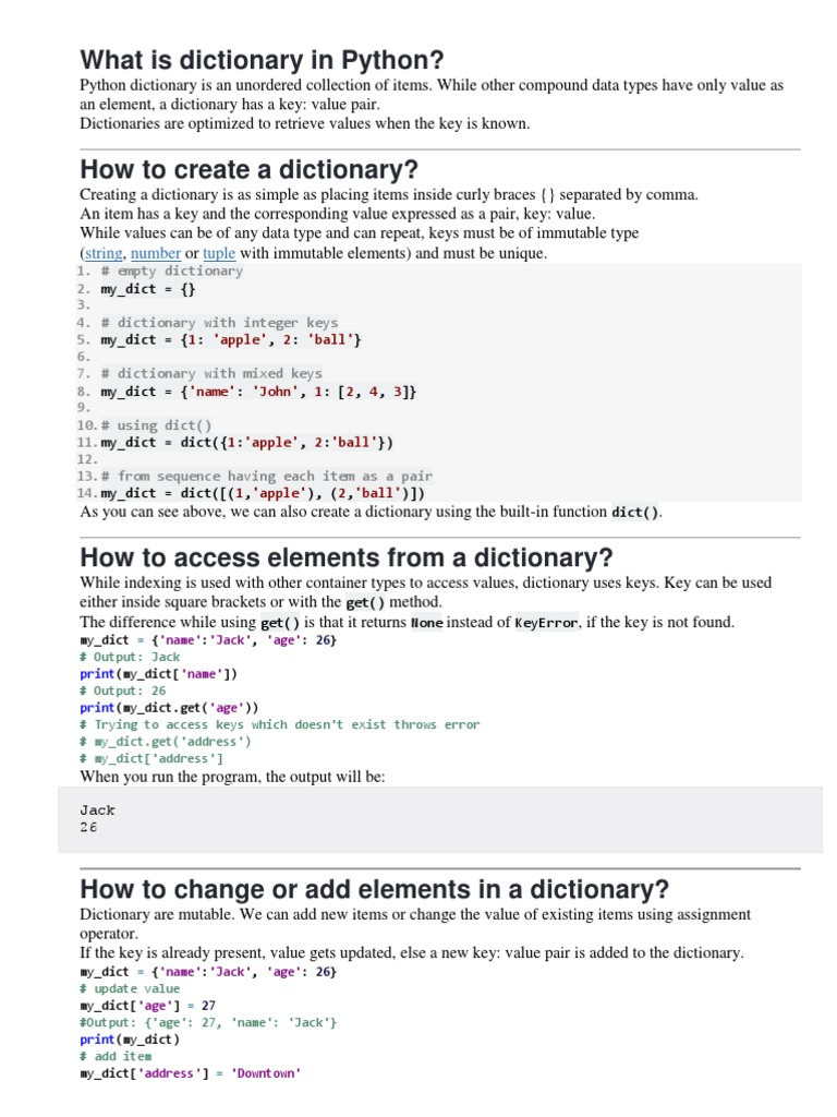 Dictionary in Python   Software
