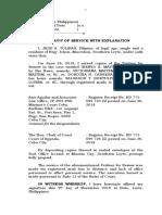 Affidavit of Service With Explanation (Jade Tolibas)