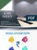 FEMA Overview and FDI Policy Harshal Bhuta
