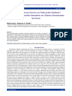 Effect of Delivery Service on University Student's Satisfaction & Reorder Intention on Chinese Restaurants in Korea