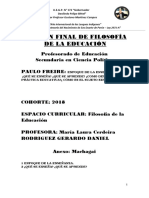 Examen Final de Filosofía de La Educación
