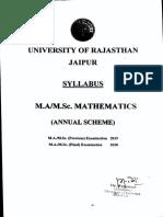 M.a. M.sc. Mathematics Annual 2019