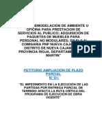 Informe ampliación de plazo parciassl N° 01