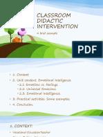 Classroom Didactic Intervencion