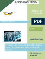 Principios de operación de las turbinas de vapor de agua de alta, intermedia y baja presión
