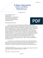 U/S. House Judiciary Chairman Nadler Letter To Ranking Member Collins On Trump Impeachment Witnesses 2019-11-29