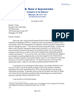 U.S. House Judiciary Chairman Letter To White House On Impeachment Witnesses 2019-11-29