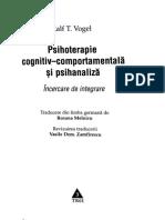 Ralph T. Vogel - Psihoterapie Cognitiv-comportamentală Şi Psihanaliză