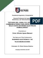 Estudio Del Canal PLC (Power Line Commuications) Para Envio de Datos a Bajo Costo en Redes Electricas Domiciliarias (AREQUIPA)