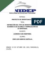 TIPO DE INVESTIGACIÓN DE ACUERDO A SU ALCANCE Y FORMULACIÓN DE LA HIPÓTESIS.