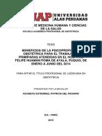 BENEFICIOS DE LA PSICOPROFILÁXIS OBSTÉTRICA PARA EL TRABAJO EN PRIMÍPARAS ATENDIDAS EN EL HOSPITAL FELIPE HUAMÁN POMA DE AYALA, PUQUIO, DE ENERO A JUNIO DEL 2014