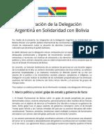 Declaración de La Delegación Argentina en Solidaridad Con El Pueblo Boliviano