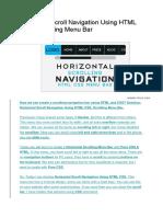 Horizontal Scroll Navigation Using HTML CSS